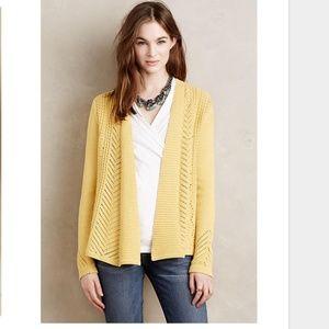 Anthropologie Yellow Sweater Cardigan
